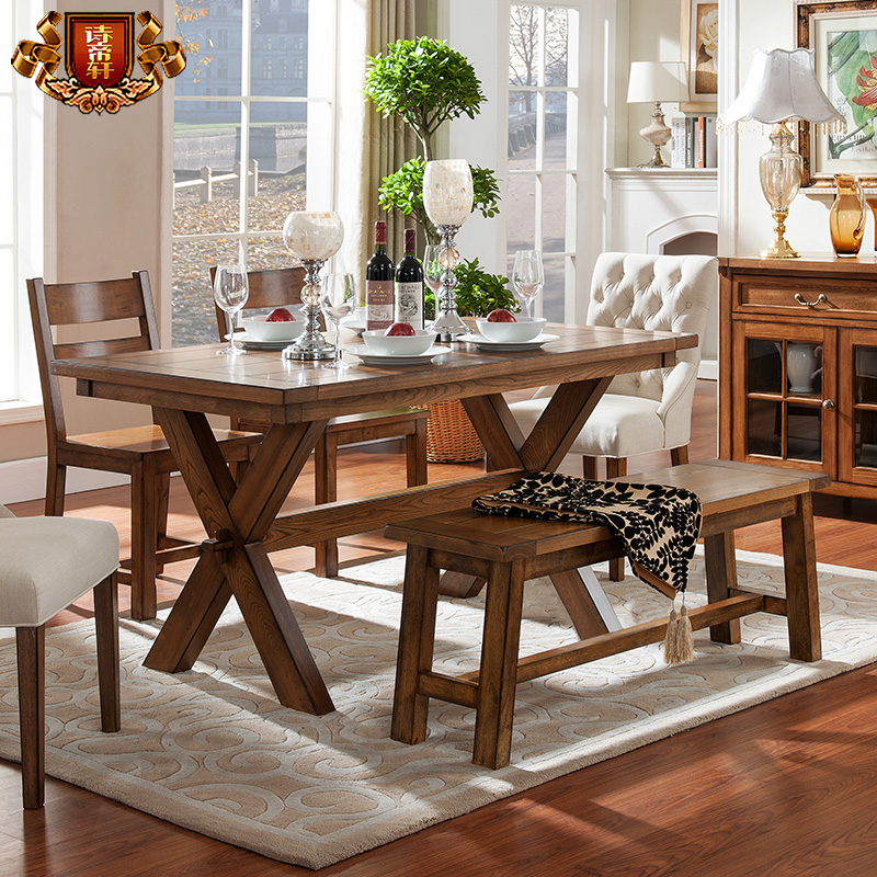Poetry emperor xuan american country furniture european solid wood dining table minimalist dining table dinette combination rectangular table