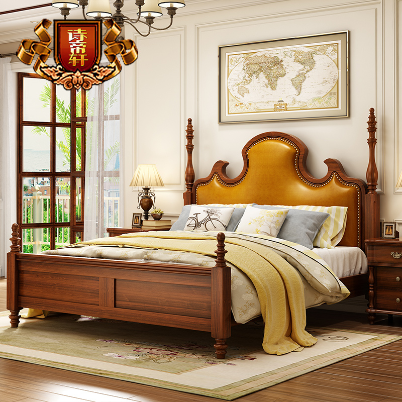 Poetry emperor xuan furniture european american wood bed double bed marriage bed leather bed wood bedroom furniture deals