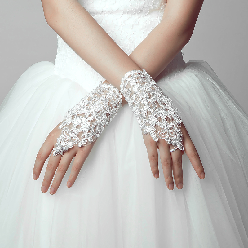 Poetry jiaqi na korean bride wedding jewelry wedding dress short paragraph lace fingerless gloves white lace rhinestones
