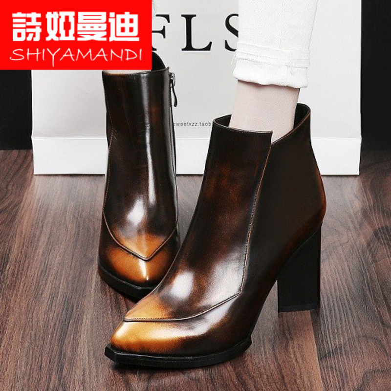 Poetry ya mandi fall and winter shoes shaped heel casual boutique rubber quality european and american boots tide martin boots high heel shoes