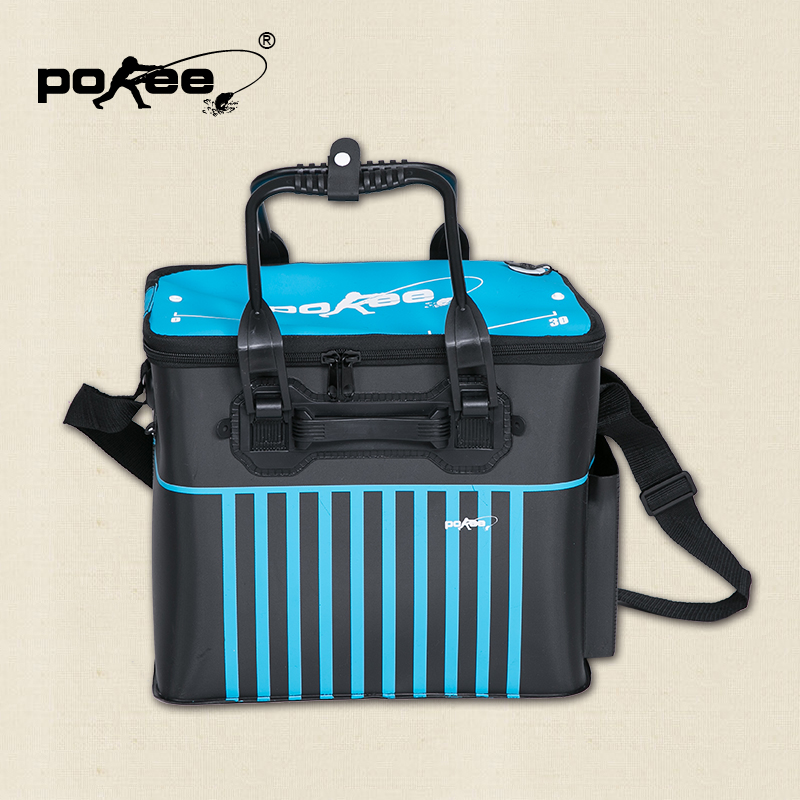 Pokee pacific fishing wear and environmental eva material adjustable strap breathable fishing bucket fishing tackle