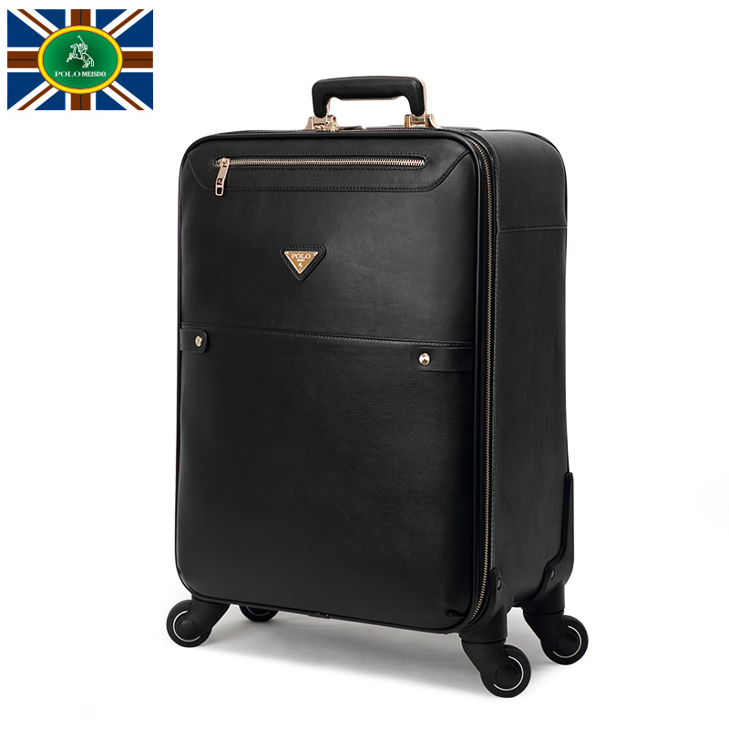 Polo leather luggage suitcase caster trolley suitcase male lockbox 20 inch board chassis business travel luggage suitcase tide