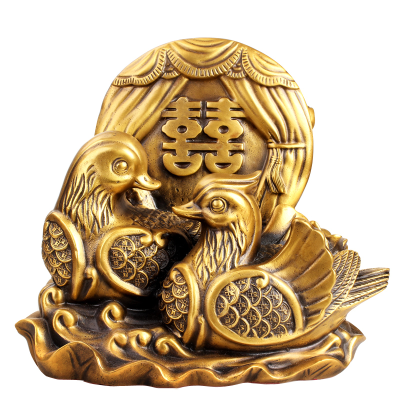Poly edge feng shui house brass duck double happiness copper pair of lovebirds duck ornaments home decorations furnishings jiaoutiancheng