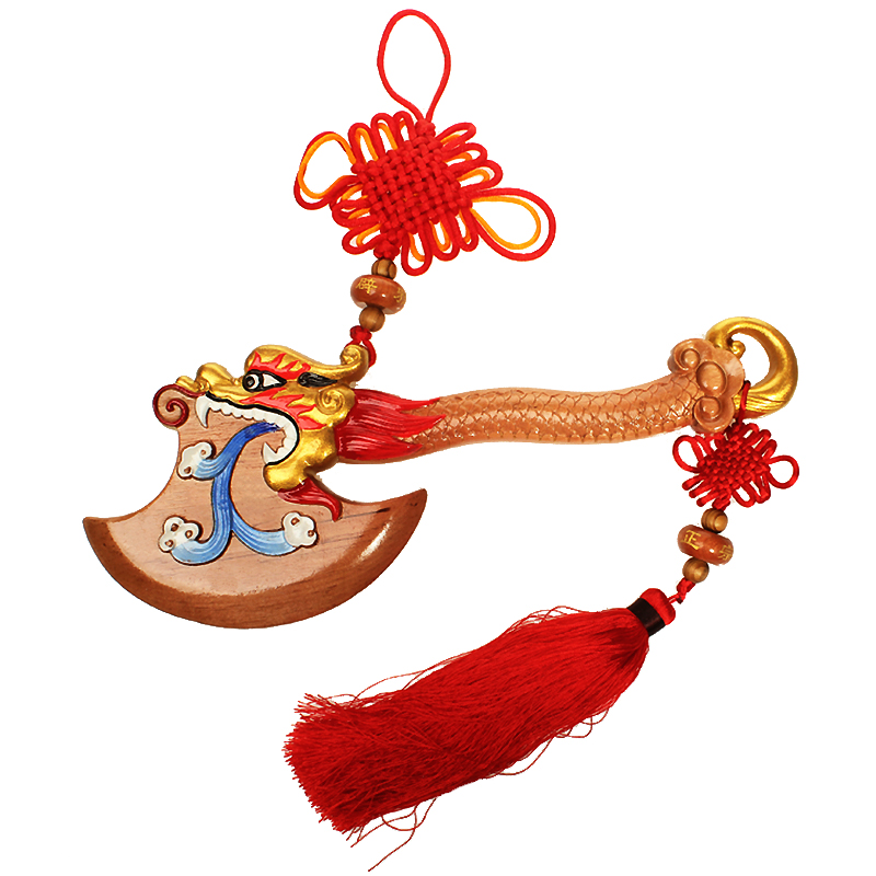 Poly edge feng shui house natural leading mahogany ax ax pendant fine wood carvings feng shui ornaments chinese knot ornaments