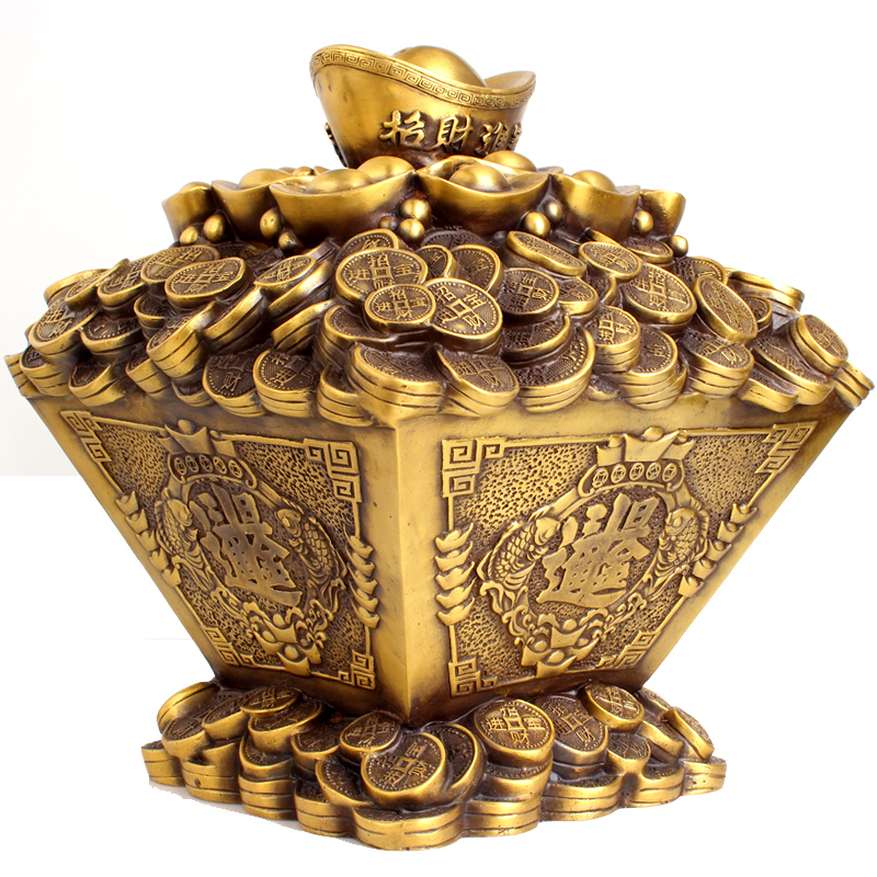 Poly edge feng shui house opening copper ornaments lucky cornucopia day into a bucket of gold piggy bank piggy bank home decorations