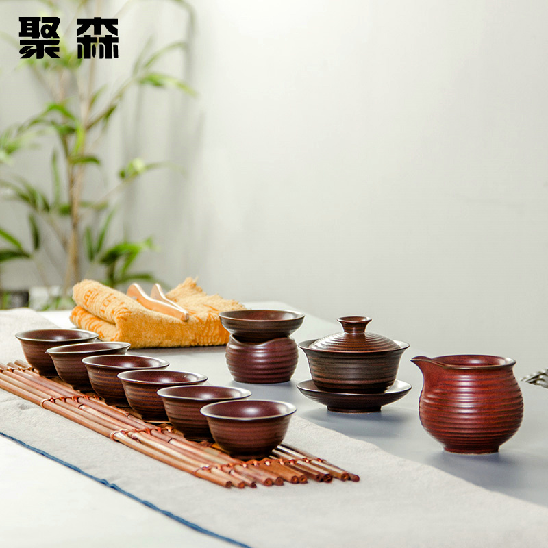 Poly foam glaze office package sets a single set of kung fu tea set ceramic teapot covered tea cup gifts deals