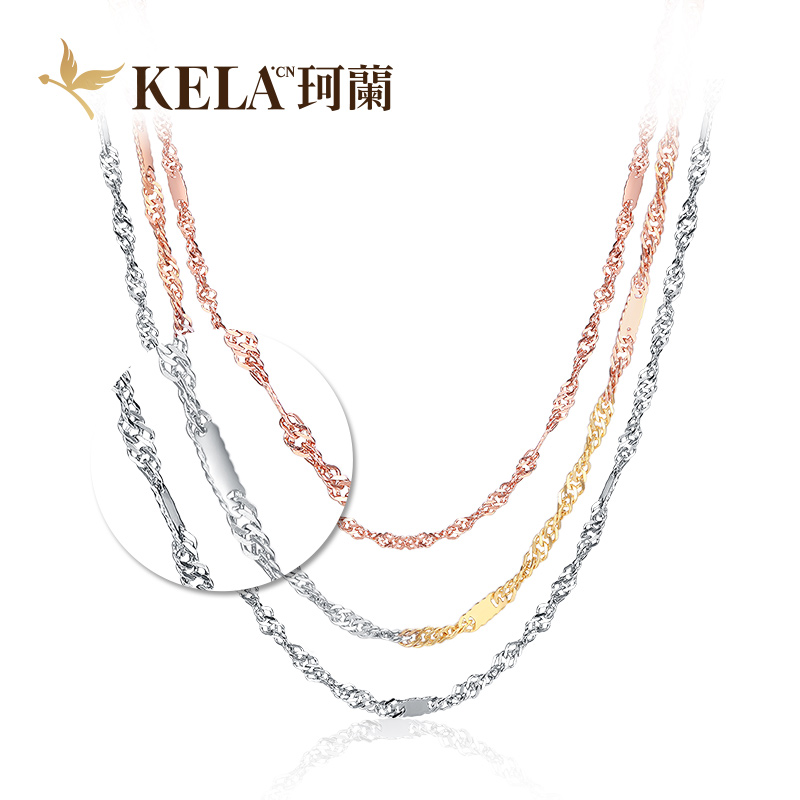 [Poly] kelan k white gold color gold pendant necklace rose gold necklace female k yellow is among the waves kx