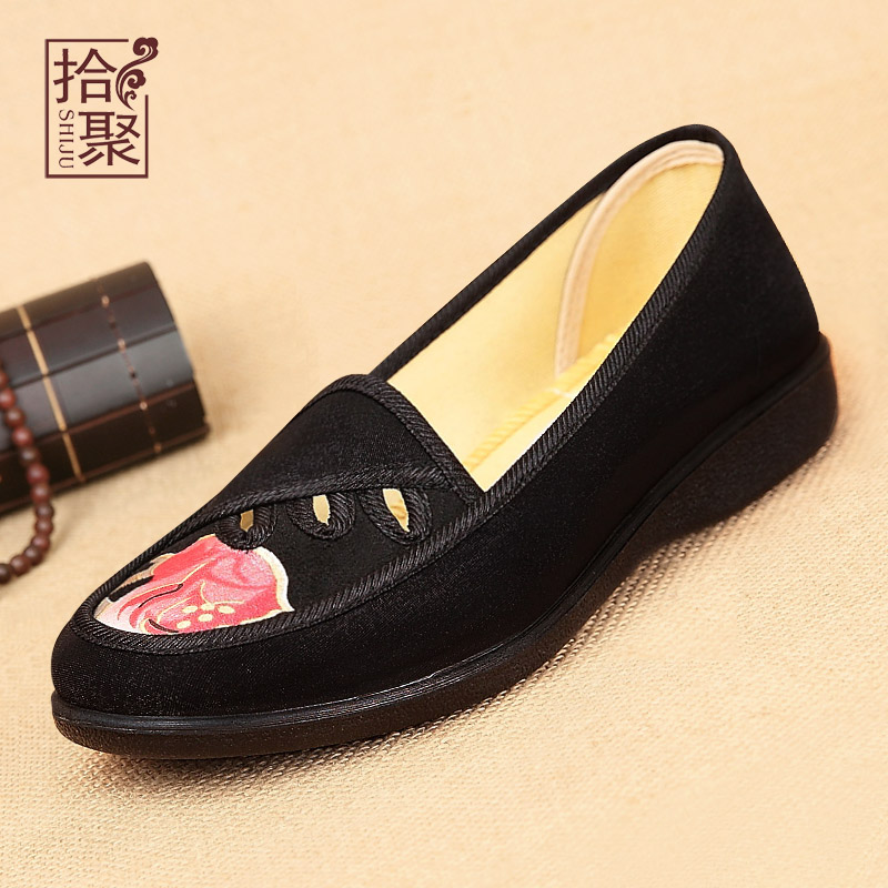 Poly pick female models old beijing shoes spring shoes elderly mother shoes work shoes flat shoes national wind