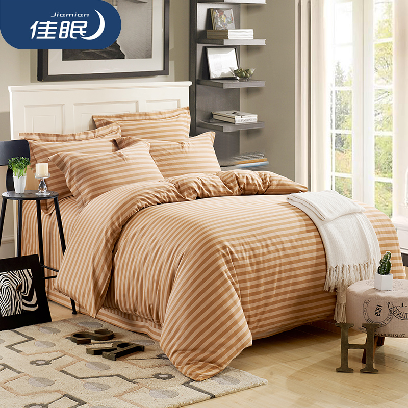 Poor sleep aids natural colored cotton textile cotton satin jacquard linen bedding a family of four men m bed