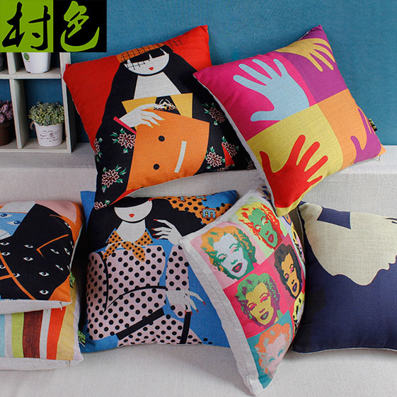 Pop hit color cartoon beauty cotton scandinavian sofa bed pillow cushions office nap pillow cover containing core