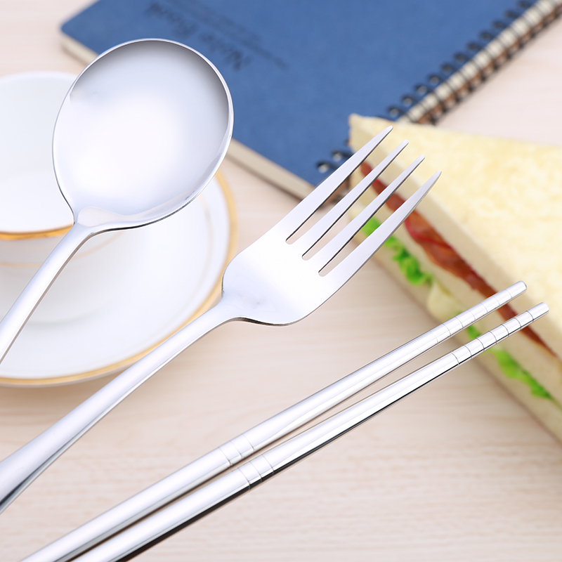 Portable three sets of cutlery portable portable travel chopsticks spoon fork western cutlery box set