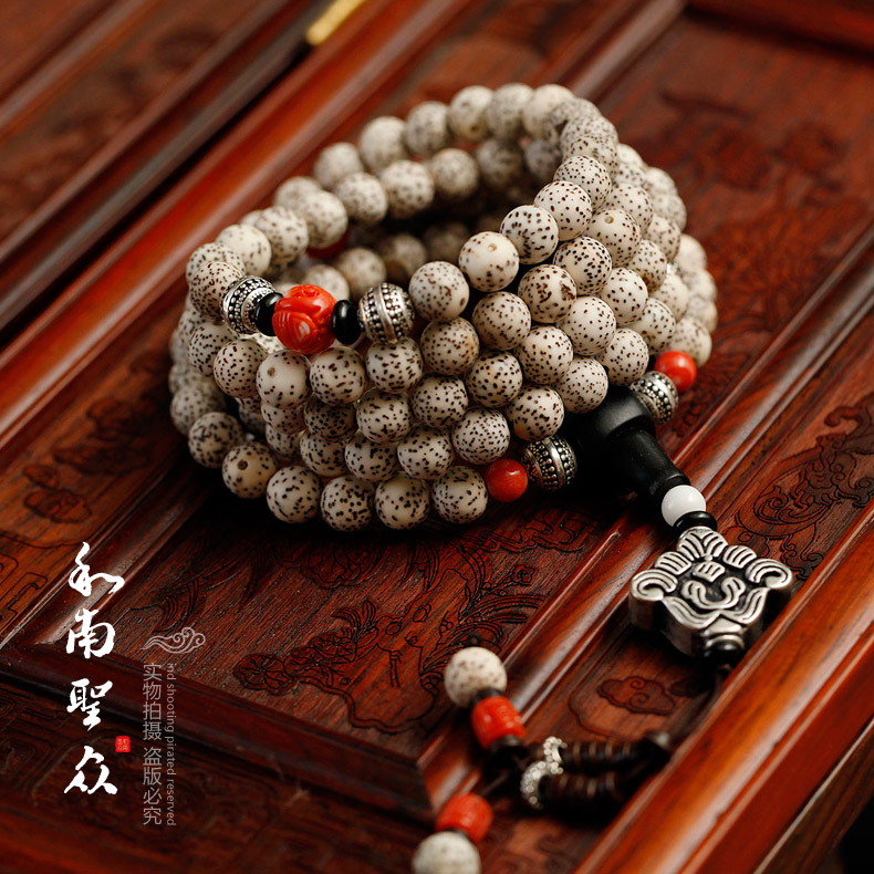 Positive xingyue pu tizi high density along the white dry grinding natural xingyue bodhi bracelets 108 buddha bead bracelet custom models