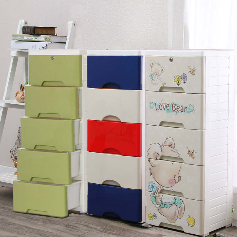 Prax poem 3 layer plastic drawer storage cabinets small lockers locker children wear baby boy clothes cupboard narrow 5 Layer