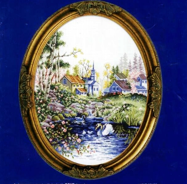 Precision printing dmc cross stitch kit precision printing landscape paintings slightly oval swan lake scenery