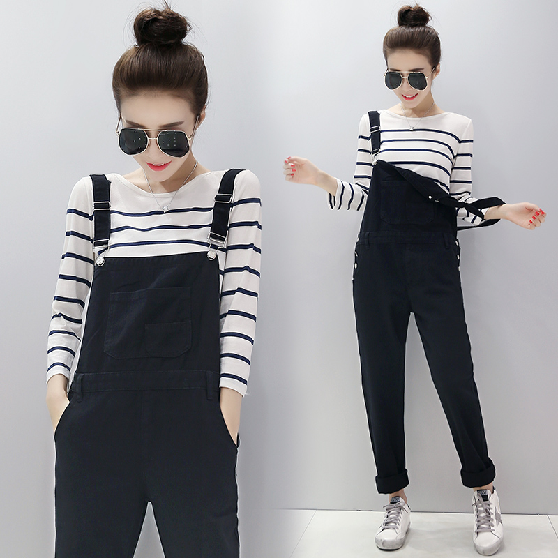 Pregnant women denim overalls maternity pants autumn outer wear black trousers fall and winter plus thick velvet maternity fall and winter clothes