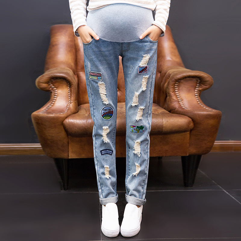Pregnant women pants fall outer wear trousers nine hole jeans pants pregnant belly care of pregnant women in autumn and winter 2016 new large size