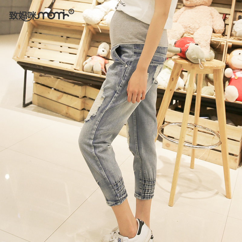 Pregnant women summer new korean fashion hole jeans korean version of casual outer wear pant care belly pants tide