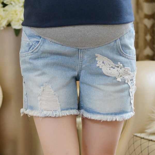 Pregnant women summer shorts korean fashion maternity jeans pants care of pregnant women pregnant belly pants bottoming spring and autumn outer wear thin section