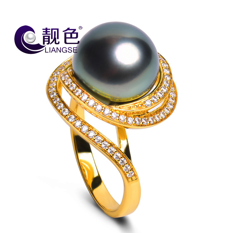 Pretty color miss tahitian black pearl ring natural seawater pearl perfect circle strong light flawless genuine color to send his girlfriend