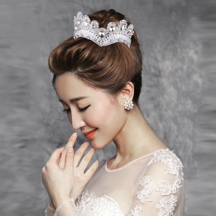 Pretty good jewelry arts and crafts ya korean handmade lace bridal headdress hair accessories wedding dress accessories frontlet crown