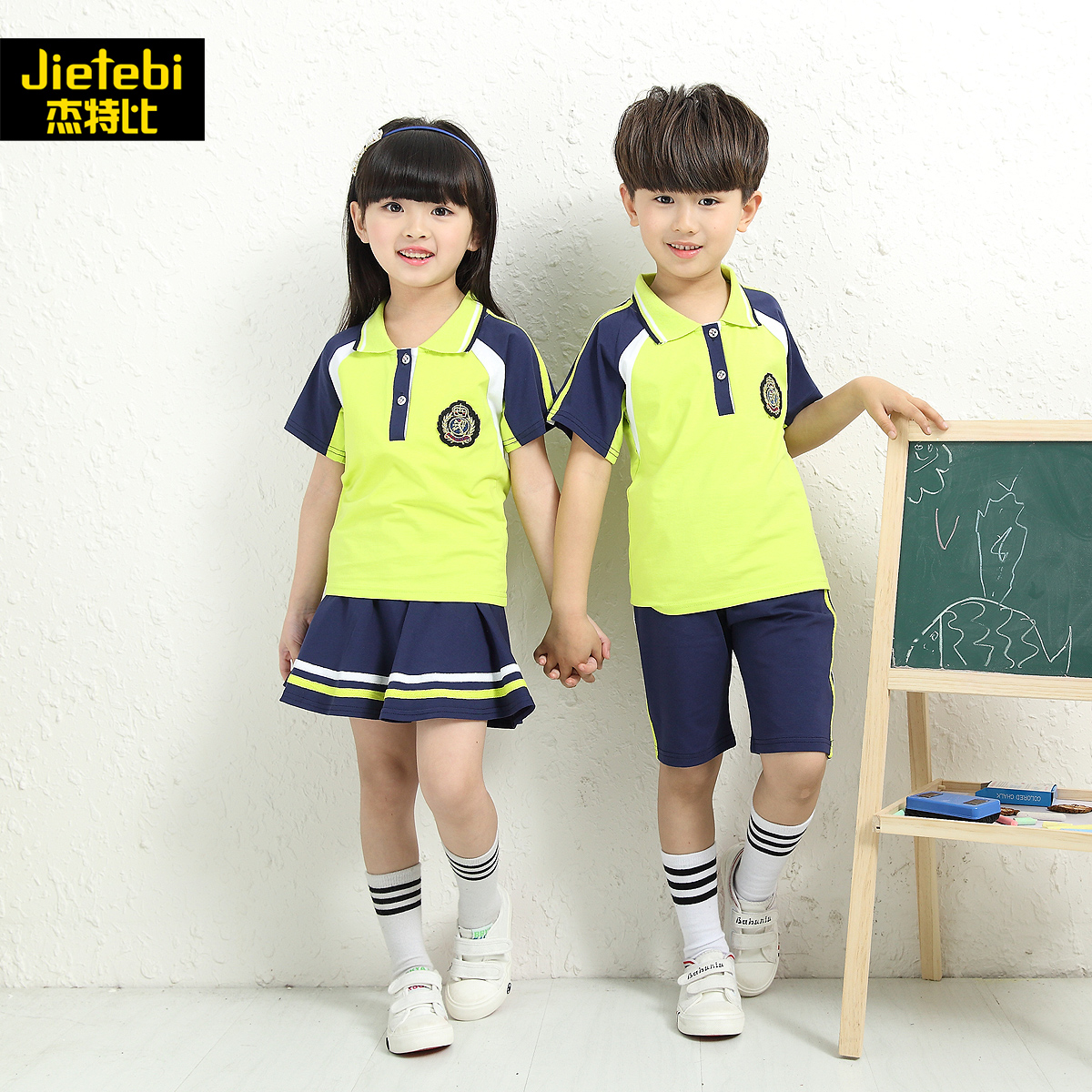 Primary and secondary school uniforms kindergarten students dress summer 2016 boys short sleeve suit girls autumn new children's summer class service
