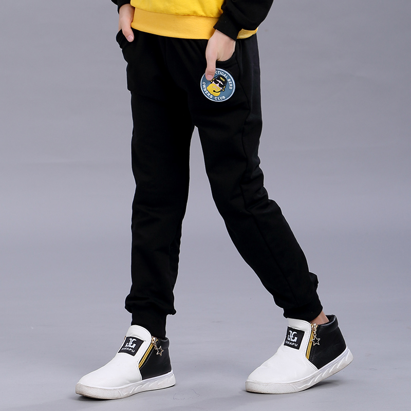 Prince fu childrenwear black sports pants boy pants boys trousers children pants trousers spring and autumn paragraph 20 men and 16