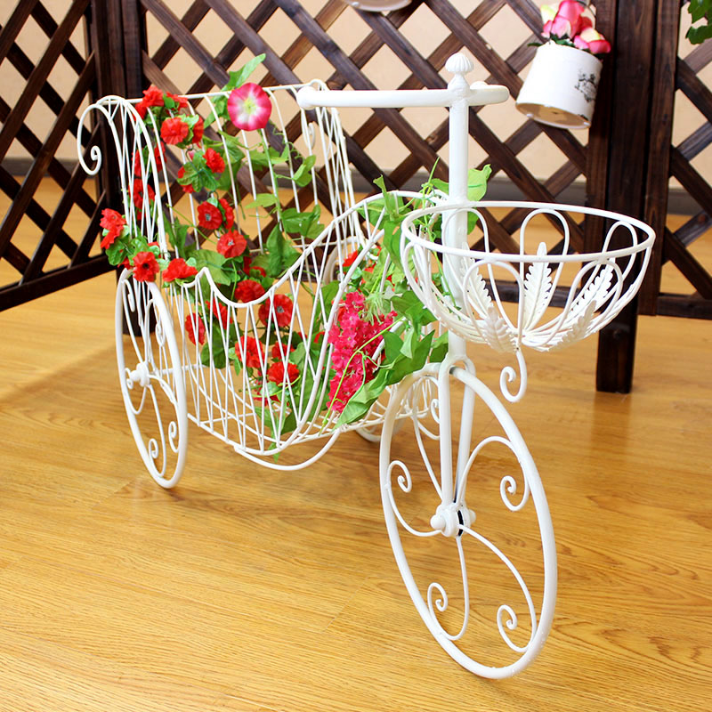 Private慕园european pastoral creative wrought iron bicycle tricycle flower pots potted flower stand to spend a few