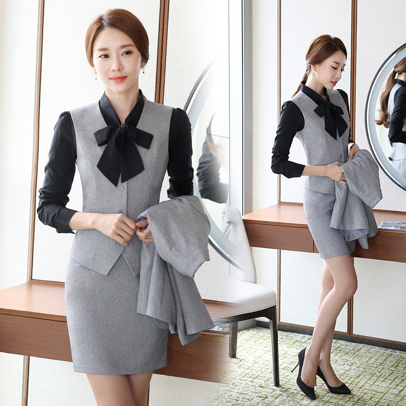 Professional dress black vest suit vest hotel uniforms stewardess uniforms bank tooling ol suit women
