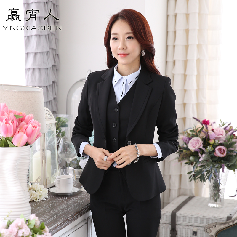 Professional women's black vest receptionist manager interview dress ol suit chaps sleeved suit autumn and winter