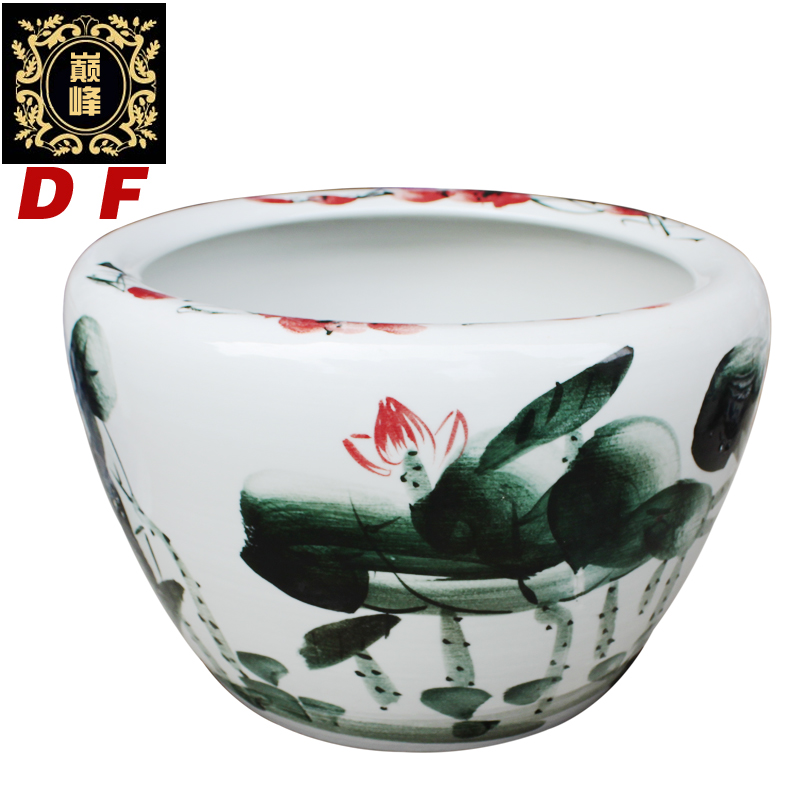 Promotional offers jingdezhen ceramics goldfish bowl turtle aquarium tank water lily cylinder feng shui fish pots painted red lotus