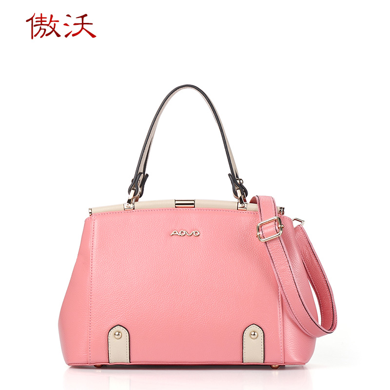 Proud waugh leather first layer of leather handbags 2016 new fashion hit color handbag stereotypes shoulder messenger large bag