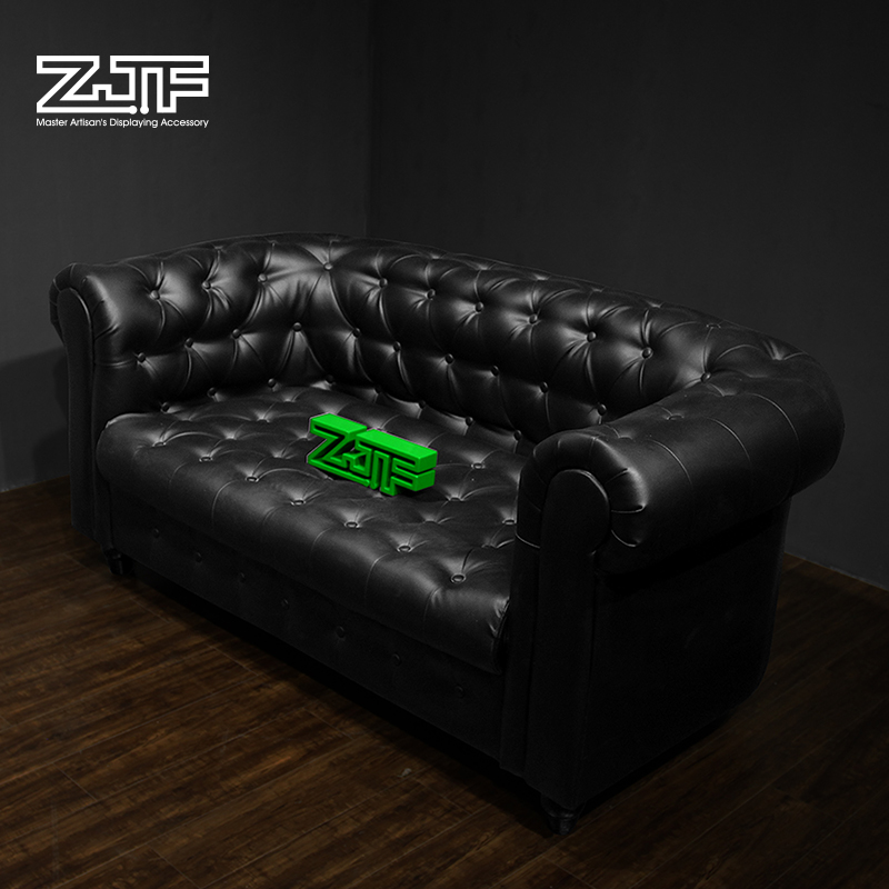 Public carpenter square zjf euclidian black pu leather clothing store sofa stool test his shoes stool shoe store in fuzhou