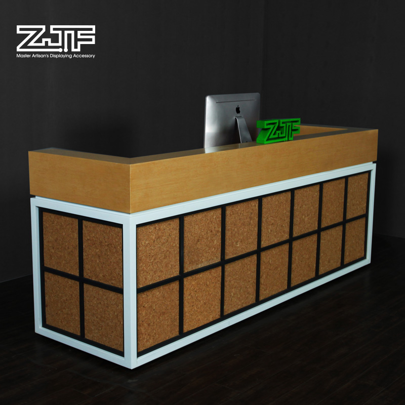 Public carpenter square zjf multifunction office furniture company reception desk reception welcome desk modern chinese wood bar d2'
