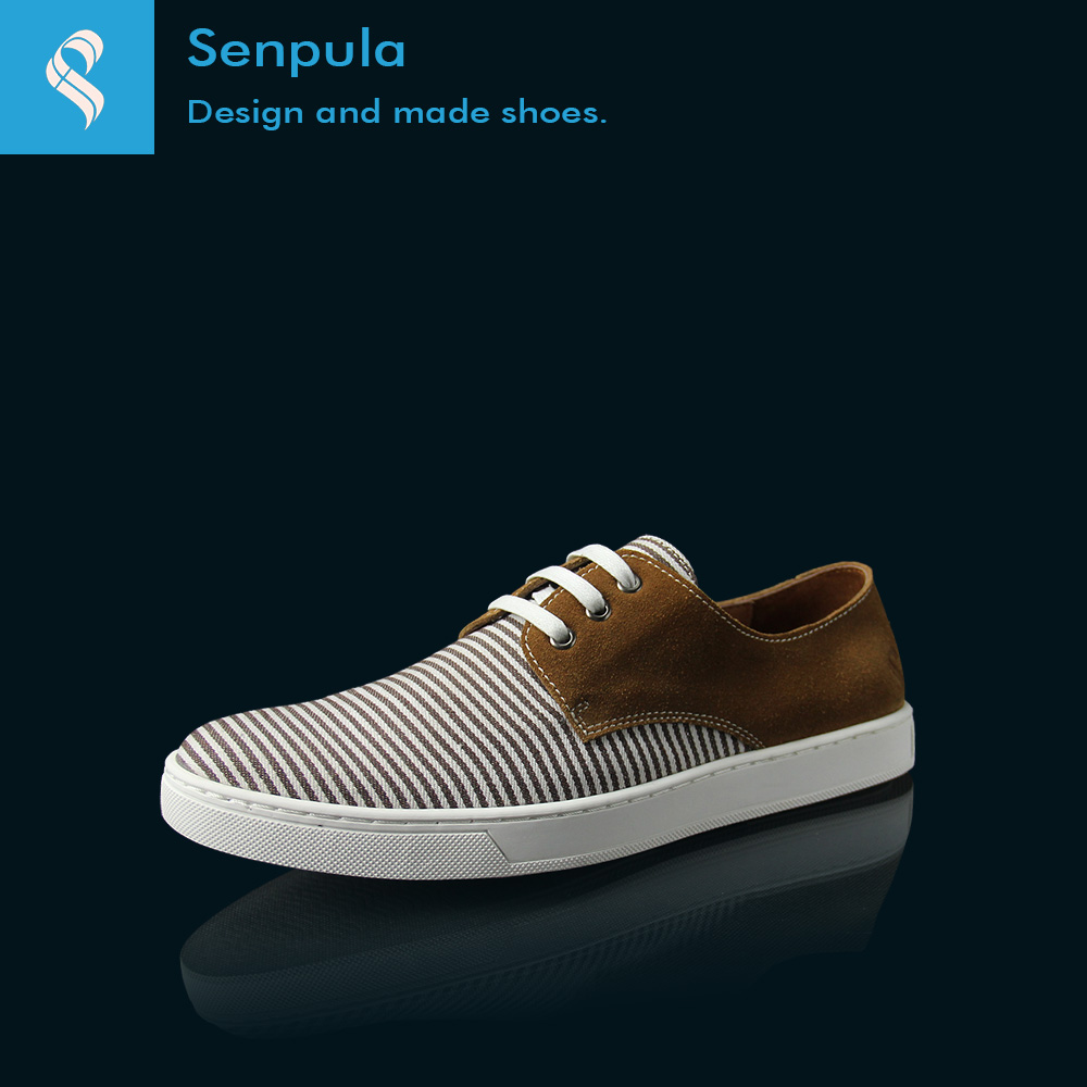 Pula sen summer shoes breathable striped fashion spell color casual men tide retro hit color leather shoes
