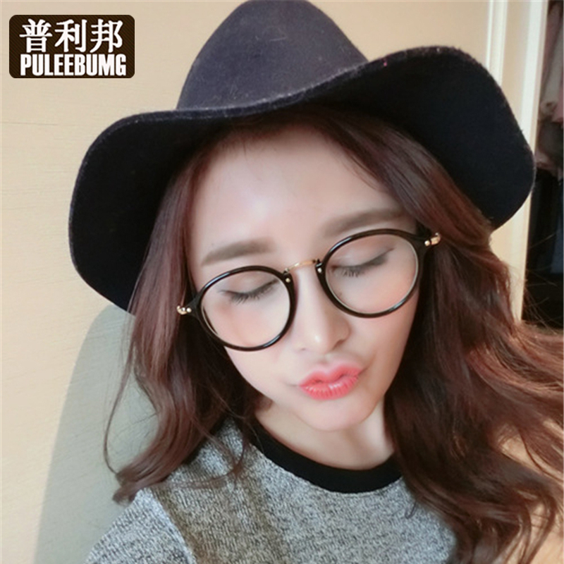 Puli bang korean version of the round frame glasses frame transparent frame glasses with myopia plain mirror decorative mirror the influx of people male and female models