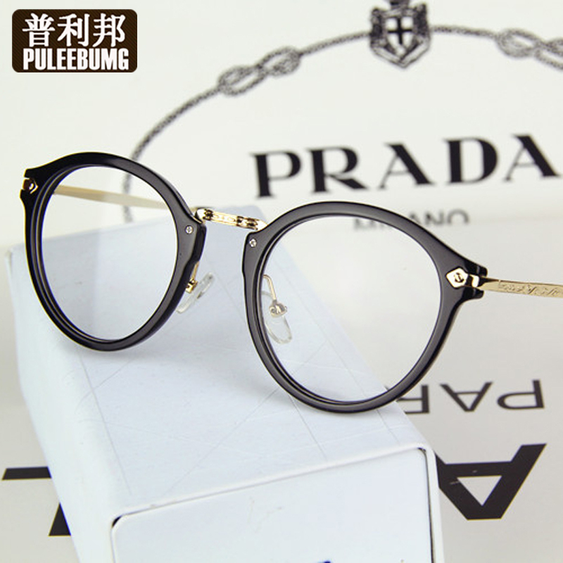 Puli bang retro big round glasses frame metal leg frame glasses frame myopia plain mirror frames for men and women the same paragraph