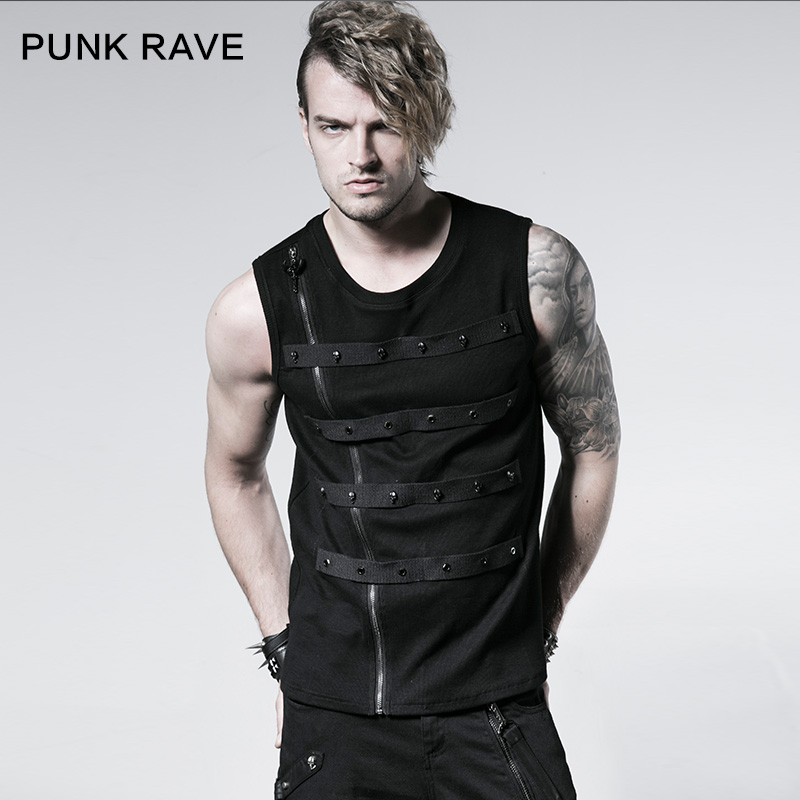 Punk rave punk punk rave designer brand new summer t-shirt men hit the nail rowan ribbon