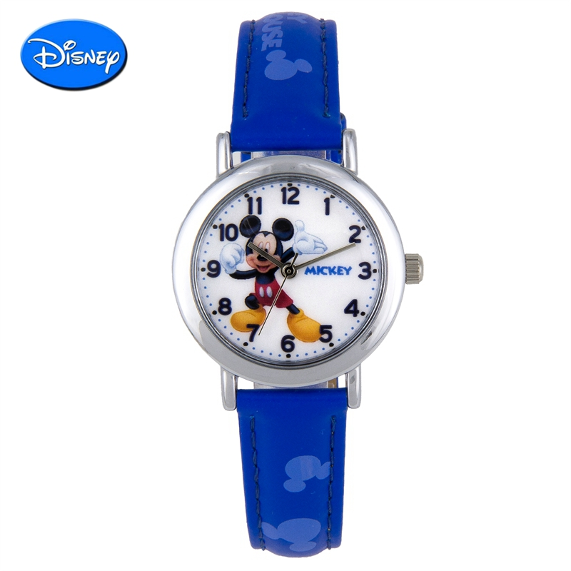 Pupils cartoon disney disney watches children watch genuine leather belt quartz watch mickey boy