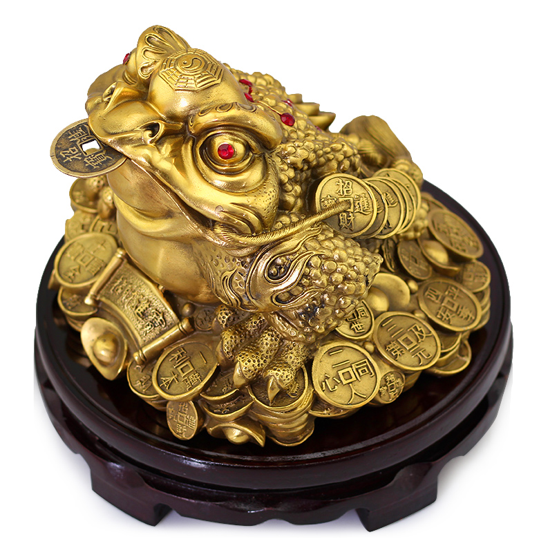 Pure copper large opening three gold ornaments lucky toad toad feng shui home pendulum pieces store opening to send gifts