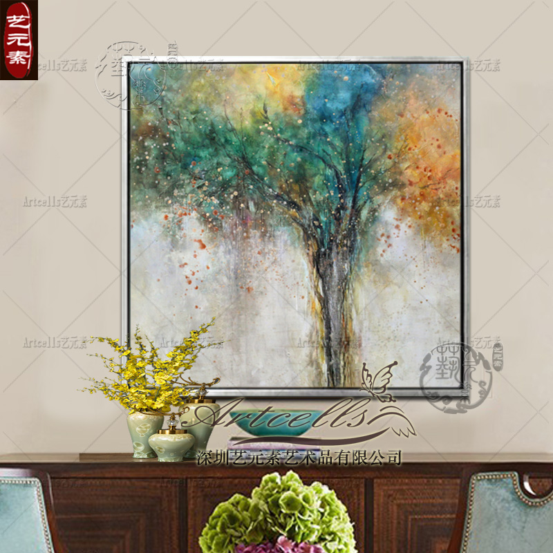 Pure hand painted oil painting abstract modern european restaurant entrance living room decorative framed painting hanging tree of life xd001