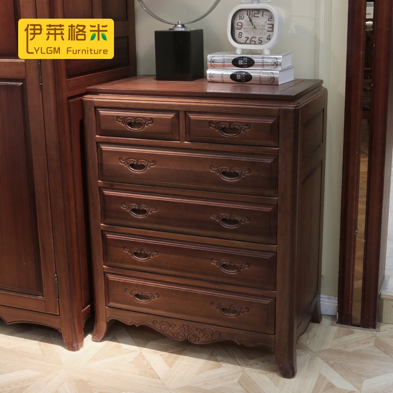 Pure solid wood mahogany wood new chinese wooden chest of drawers six european american living room bedroom furniture storage cabinets