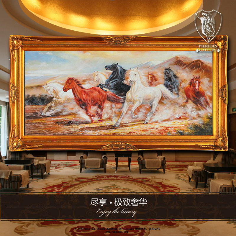 Puri fernandez eight horses wanmabenteng puri fernandez pure hand painted oil painting decorative painting of european painting genuine us