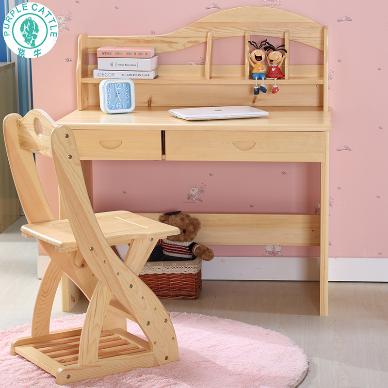 Get Ations Purple Cow Children Learn Pine Wood Tables And Chairs Suit Student Desk Chair Combination Bookcase