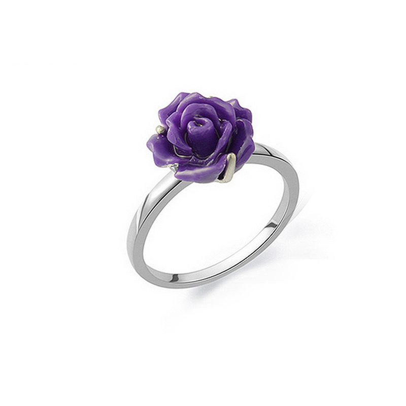 Purple rose 925 silver rings female personality index finger ring ring tail ring simple literary temperament korea gift