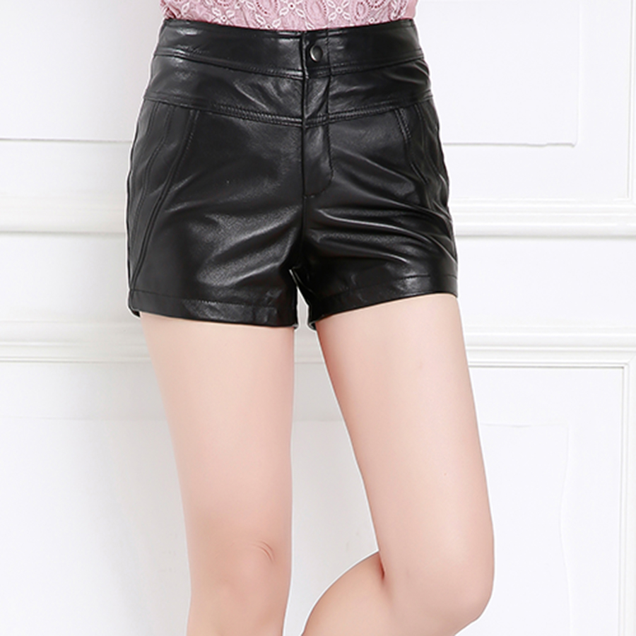 Purple舞弄skipperling haining leather sheep skin leather pants leather leggings boots pants shorts new slim leather pants