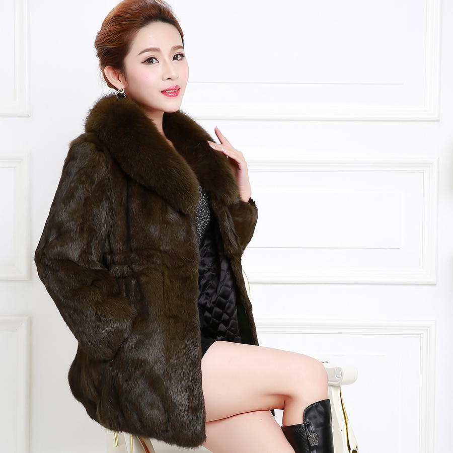 Purple舞弄skipperling haining whole skin rabbit fur fur fox fur collar and long sections leather grass fur coat mother paragraph