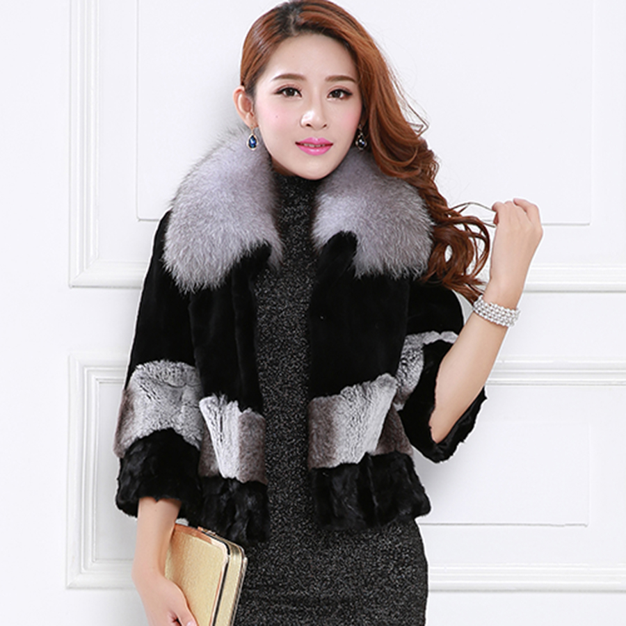 Purpleèå¼skipperling mink fur fox fur collar rex stitching wool fur coat ladies short paragraph haining fur