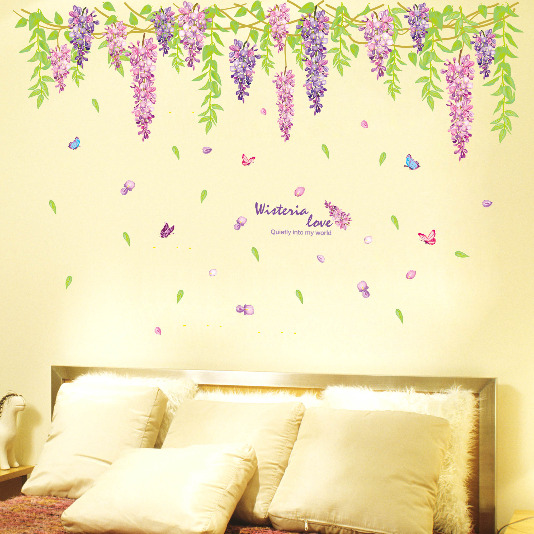 Purple wisteria flowers wall stickers living room sofa tv background wall stickers romantic bedroom wall stickers bedroom bedside klimts