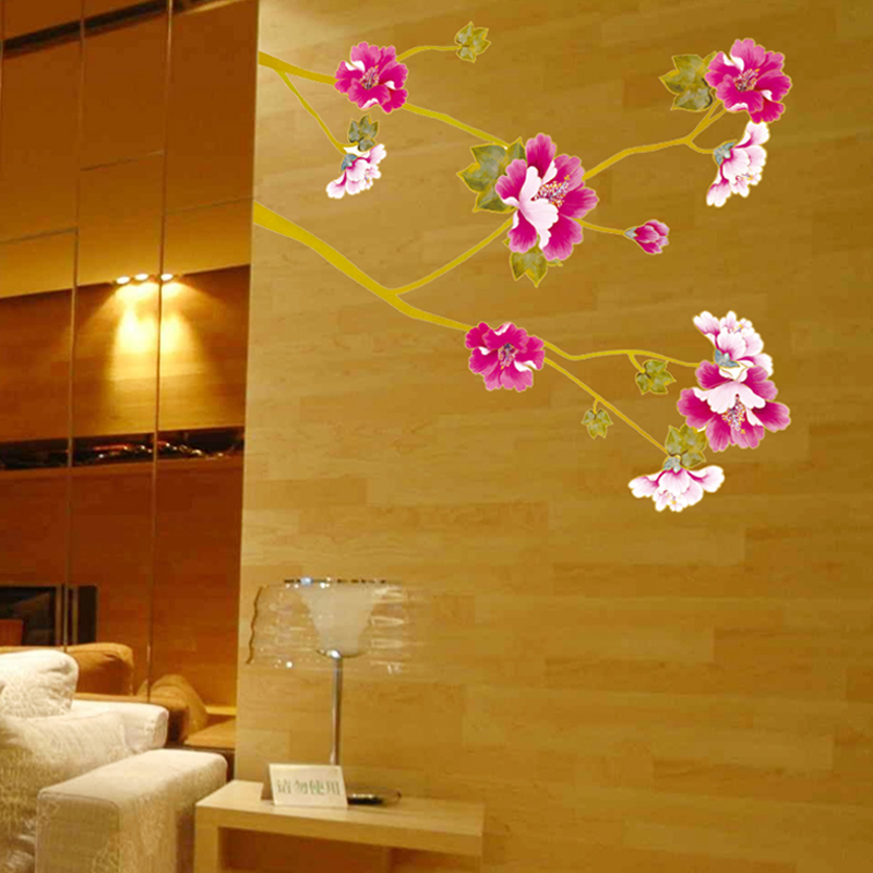 Pvc removable wall decorations living room bedroom glass cabinets waterproof wall stickers decorative painting background