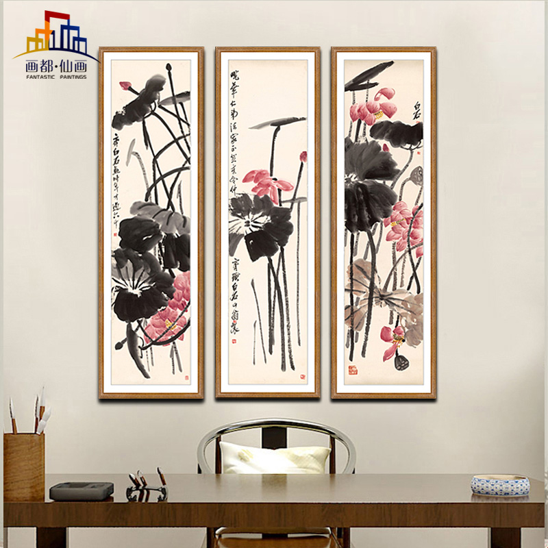 Qi baishi painting of lotus flowers and four screen painted pure chinese living room book room bedroom wall painting decorative painting mural paintings